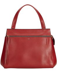 Céline Red Leather Large Edge Bag