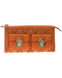 eb24409fa2b1 Marc Jacobs - Orange Quilted Leather Crystal Embellished Double Pocket Zip  Wallet - Lyst