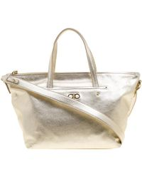 5d22b67c70 Lyst - Ferragamo Saffiano Leather Tote Bag Orange in Metallic