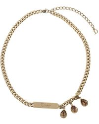 Dior - Crystal Rose Tone Chain Choker Necklace - Lyst