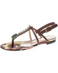 Etro - Leather Embellished Flat Thong Sandals - Lyst
