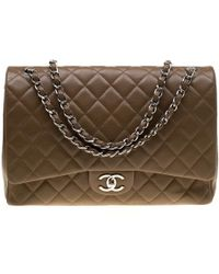080067cc7871fa Chanel - Brown Quilted Caviar Leather Maxi Classic Double Flap Bag - Lyst