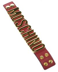 Moschino - Logo Plaque Leather Wide Bracelet S - Lyst