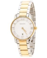 Tiffany & Co. - White Yellow Gold Plated Stainless Steel Atlas Women's Wristwatch 29 Mm - Lyst
