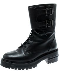 Dior - Black Leather D Fight Combat Boots Size 36.5 - Lyst