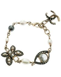 Chanel - Cc Crystal Faux Pearl & Enamel Tone Charm Bracelet - Lyst