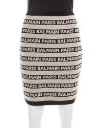 Balmain Beige And Black Jacquard Logo Knit Striped Bodycon Skirt M - Natural