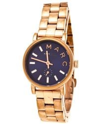 Marc By Marc Jacobs - Blue Rose Gold Plated Stainless Steel Baker Mbm8640 Women's Wristwatch 28 Mm - Lyst