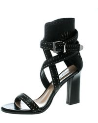 Barbara Bui - Laser Cut Motif Perforated Leather Ankle Cuff Strappy Block Heel Sandals - Lyst