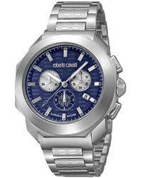 Roberto Cavalli - Dark Stainless Steel Rv1g044m0071 Men's Wristwatch 44mm - Lyst