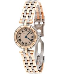 Cartier - Beige 18k Yellow Gold Stainless Steel Panthère Vendôme 166920 Women's Wristwatch 24 Mm - Lyst