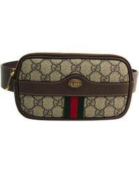 ff8c0f242dd Gucci - Beige ebony GG Supreme Coated Canvas And Leather Ophidia Belt Bag -  Lyst