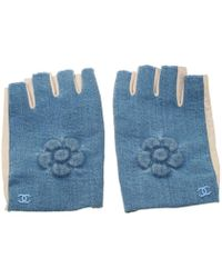 Chanel Blue/beige Denim And Leather Cc Camellia Fingerless Gloves