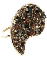 Etro - Crystal Gold Tone Double Finger Ring - Lyst