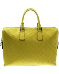 9420c9f82c4a Louis Vuitton - Vert Acide Damier Infini Leather Porte Documents Briefcase  - Lyst