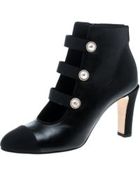 Chanel - Leather Faux Pearl Cc Fabric Cap Toe Booties - Lyst