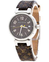 Louis Vuitton - Stainless Steel Monogram Tambour Q1211 Women's Wristwatch 28 Mm - Lyst