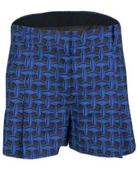 Louis Vuitton - And Black Printed Denim Pleated Shorts M - Lyst