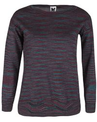 M Missoni - Purple Striped Knit Silk Back Panel Detail Jumper S - Lyst