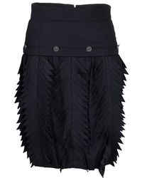 Chanel - Pin Striped Triangular Applique Detail High Waist Skirt M - Lyst