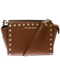 a9bf8629387f MICHAEL Michael Kors - Brown Leather Medium Studded Selma Crossbody Bag -  Lyst