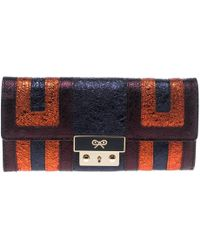 Anya Hindmarch - Metallic Ceramic Effect Patent Leather Continental Wallet - Lyst