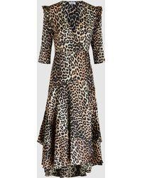 Ganni - Calla Leopard Silk Wrap Dress - Lyst