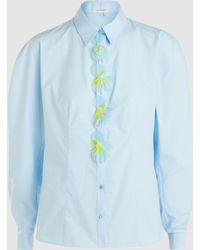 Delpozo - Appliquéd Cotton Shirt - Lyst