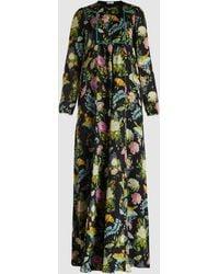 Vilshenko - Alice Botanical Printed Silk Maxi Dress - Lyst