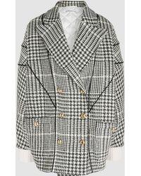 Alessandra Rich - Oversized Prince De Galles Wool-blend Coat - Lyst