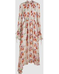 MSGM - Watercolour Bouquet Printed Chiffon Maxi Dress - Lyst