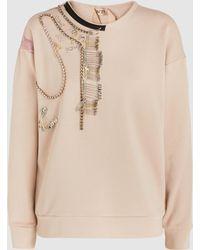 N°21 - Mara Cotton Fleece Embellished Embroidered Sweatshirt - Lyst
