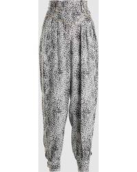 Alessandra Rich - Leopard Print Silk Trousers - Lyst