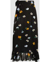 Ganni - Dainty Floral-print Georgette Wrap Skirt - Lyst