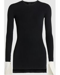 Petar Petrov - Two-tone Ribbed-knit Sweater - Lyst