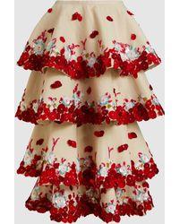 Razan Alazzouni - Embellished Tiered Seersucker Maxi Skirt - Lyst