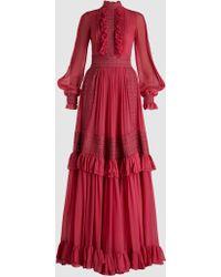 Costarellos - Ruffled Silk-chiffon Gown - Lyst