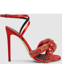 Marco De Vincenzo - Woman Knotted Crystal-embellished Satin Sandals Red - Lyst