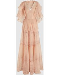 Alberta Ferretti Tiered Ruffled Broderie Anglaise Maxi Dress