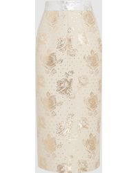 Emilia Wickstead | Linda Metallic Floral-jacquard Midi Skirt | Lyst