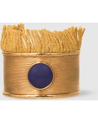 Aurelie Bidermann - Azzura Lapis And Fringe Embellished Gold Cuff - Lyst