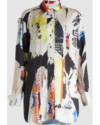 Marques'Almeida - Poster Print Oversized Silk Shirt - Lyst