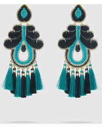 Mercedes Salazar Turquoise Curubas Tassel Drop Earrings - Blue