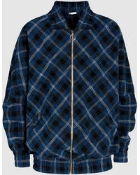 Atea Oceanie - Oversized Plaid Cotton-twill Bomber Jacket - Lyst