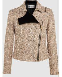 Lanvin - Bouclé Tweed Biker Jacket - Lyst