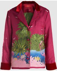F.R.S For Restless Sleepers - Velvet-trimmed Printed Silk Shirt - Lyst