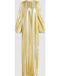 By. Bonnie Young - Striped Metallic Silk-blend Maxi Dress - Lyst
