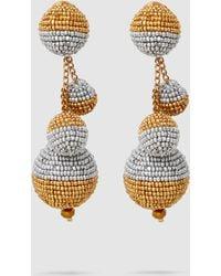 Oscar de la Renta - Triple Beaded Ball Earrings - Lyst