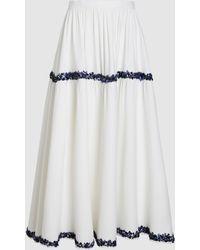 Razan Alazzouni - Silk Beaded Midi Skirt - Lyst