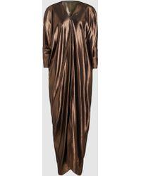 Alberta Ferretti - Silk Lamé Draped Dress - Lyst